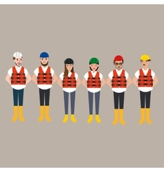 team of construction worker wearing helmet vector image