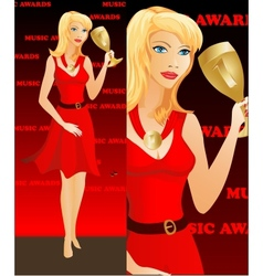 Celebrity woman winning an award golden cup vector