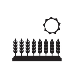 Flat icon in black and white wheat field vector