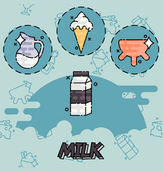 milk production icons set vector image
