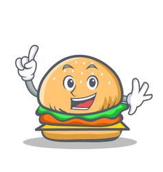 Finger burger character fast food vector