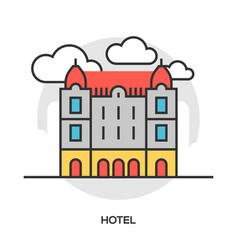 Hotel line flat icon vector