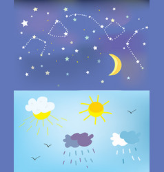 Weather elements and backgrounds for day and night vector