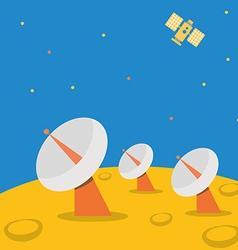 Satellite base station on planet scene vector image