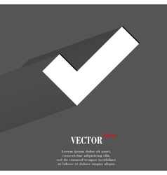 Tick flat modern web button with long shadow and vector