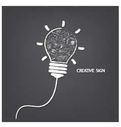 Creative light bulb handwriting style vector