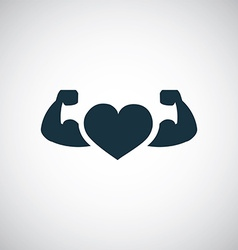 Strong health icon heart with muscle arms vector