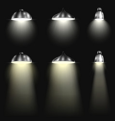 Three types of spotlights with beams vector