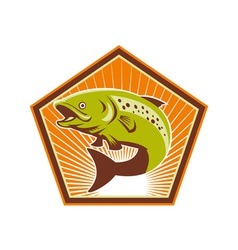 Trout fish jumping retro vector
