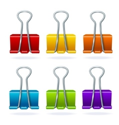 Colorful binder clip set vector