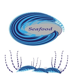 Labels in the form of shells for seafood vector