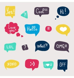 Colorful questions speech bubbles set in flat desi vector