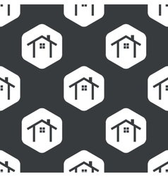 Black hexagon cottage pattern vector