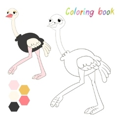Coloring book ostrich kids layout for game vector