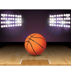 Basketball on court with lights vector