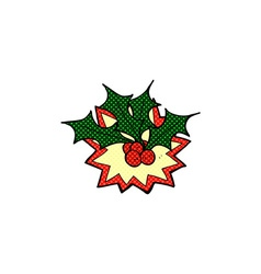 Comic cartoon christmas holly vector