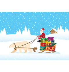 santa claus delivering presents vector image