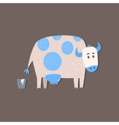 Cow and a bucket of milk image vector