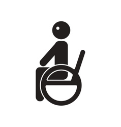 Flat icon in black and white style man wheelchair vector