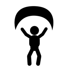 Person with parachute pictogram icon vector