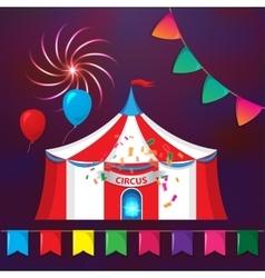 Big top circus tents with decorative elements vector