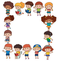 border template with kids in different actions vector image vector image