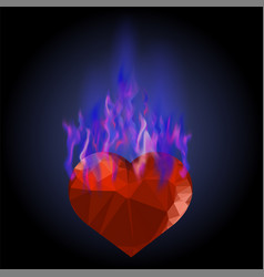 burning heart with blue fire flame vector image vector image