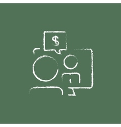 Business discussion icon drawn in chalk vector