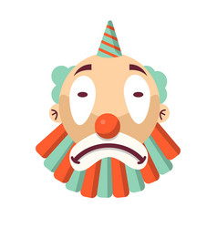 cartoon unhappy clown face isolated on white sad vector image