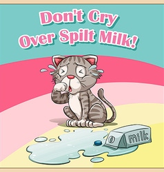 Cat crying over spilt milk vector