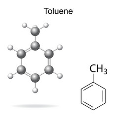 Chemical formula and model of toluene vector image vector image