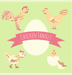 chicken family around egg card vector image