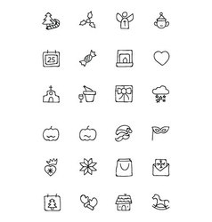 Christmas hand drawn icons 3 vector