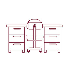 Dark red line contour of work place office vector