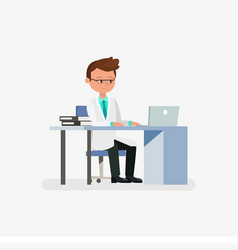 Doctor cartoon character sitting on desk with vector