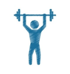 Drawing colored silhouette man gym weight barbell vector