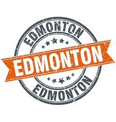 Edmonton red round grunge vintage ribbon stamp vector