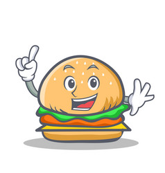 finger burger character fast food vector image vector image