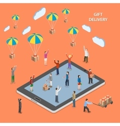 Gift delivery flat isometric vector
