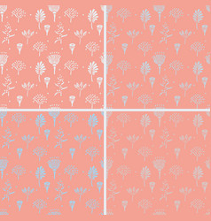 hand drawn simple plant seamless pattern sketch vector image