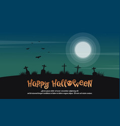 Happy halloween landscape with grave vector