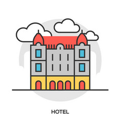 hotel line flat icon vector image vector image