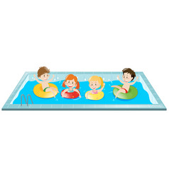 kids having fun in the pool vector image