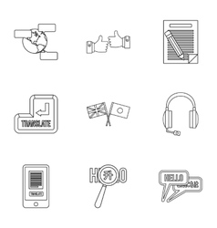 Languages icons set outline style vector image
