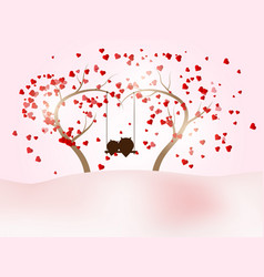 romantic valentines day with couple owl on swing vector image vector image