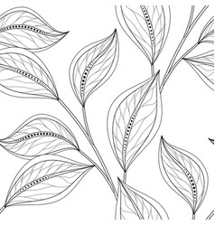 Seamless monochrome floral pattern vector