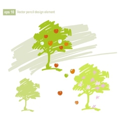 Set of stylized apple tree vector image