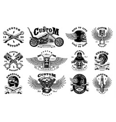 Set with 12 vintage biker on white background vector