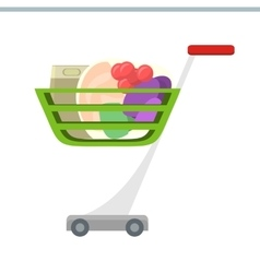 Shopping cart in flat design vector