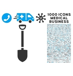 Shovel Icon with 1000 Medical Business Symbols vector image